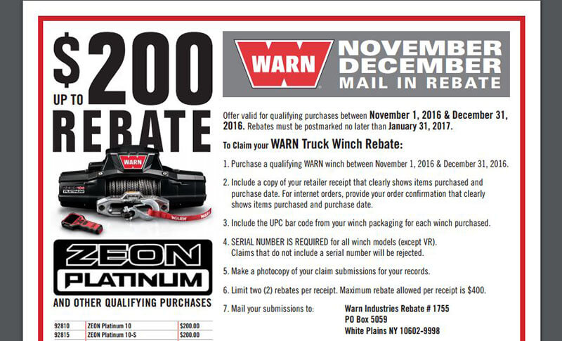 WARN Promotion: Up to $200 Back on Qualifying Winches – Performance