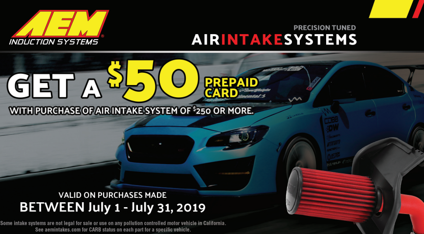 AEM Induction Systems: Get $50 Back on Air Intake System Purchases of $250 or More