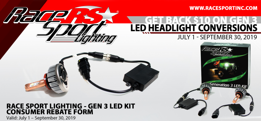 Race Sport Lighting: Get $10 Back on GEN3 LED Headlight Conversion Kits