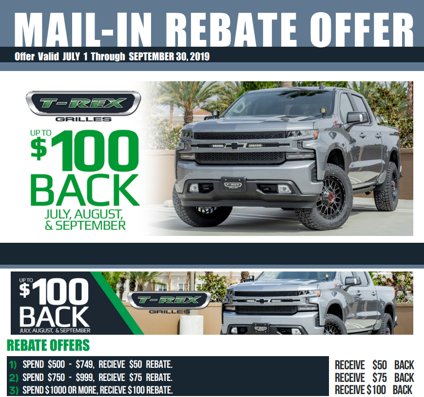 T-Rex Grilles: Get $50 to $100 Back on Purchases of $500 or More