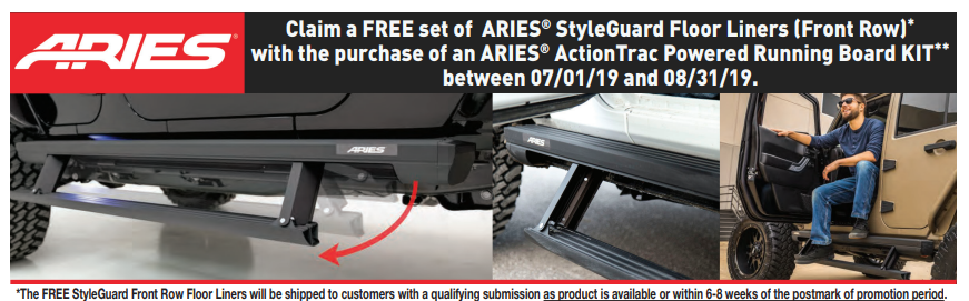 ARIES: Get Free StyleGuard Front Floor Liners with ActionTrac Kit Purchase