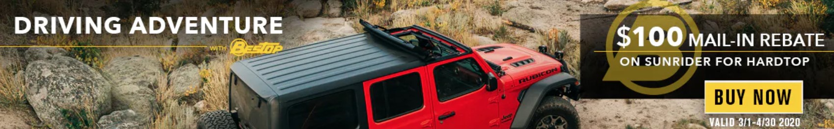 "Bestop: Get $100 Back on Sunrider for Hardtop During ""Driving Adventure"" Event"