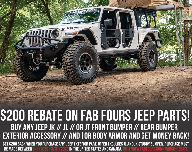 Fab Fours: Get $200 Back on Select Jeep JK, JL, and JT Exterior Parts