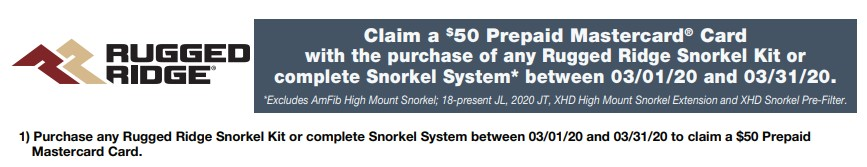 Rugged Ridge: Get $50 Back on Qualifying Snorkel Kits or Complete Systems