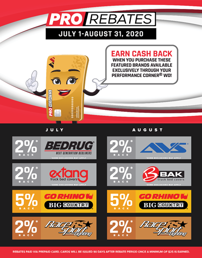 PRO Rebates for July & August 2020